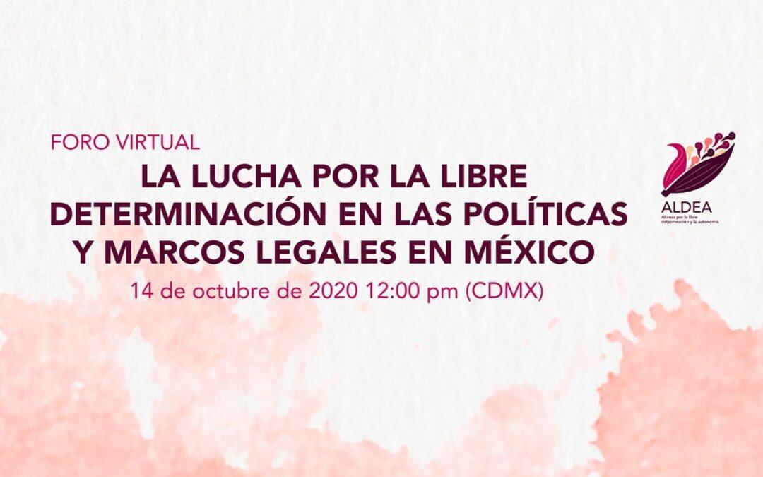 """Invita ALDEA a foro virtual """"la lucha por la libre determinación en las políticas y marcos legales en México"""""""